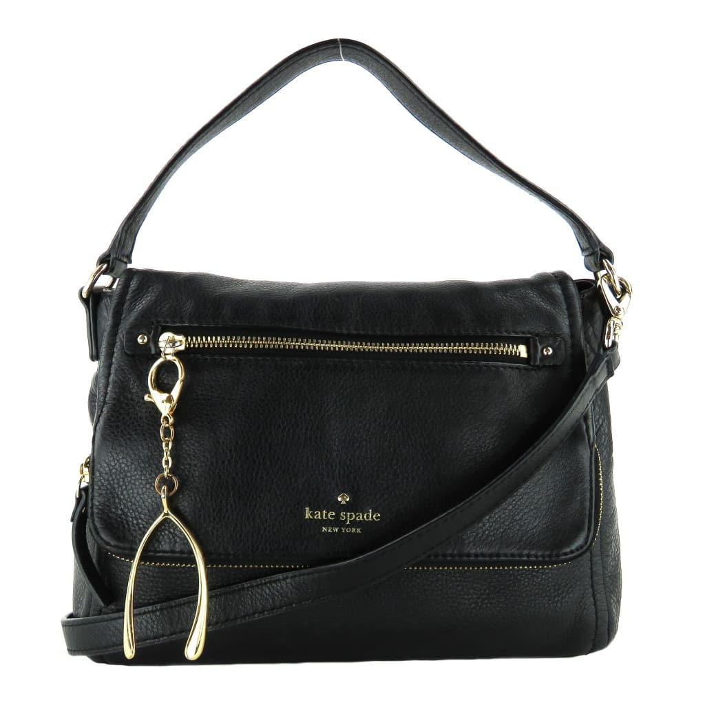 Kate Spade Black Leather Foldover Zip Flap Crossbody Bag - Crossbodies