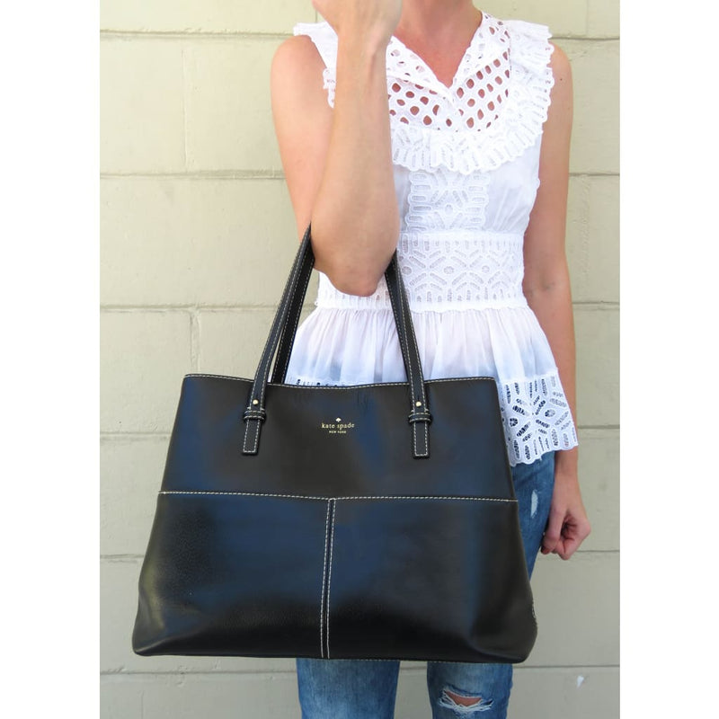Kate Spade Black Leather Large Tote Bag - Totes