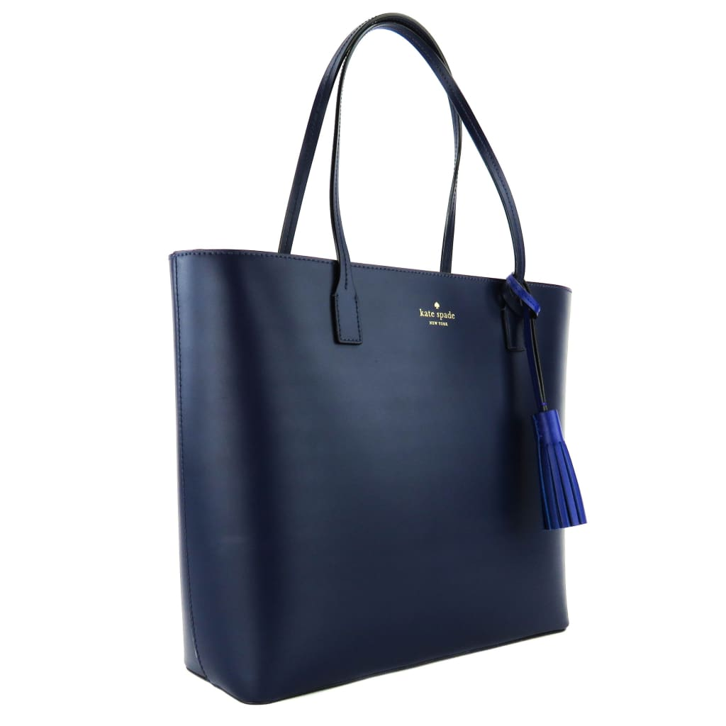 7cc44c7bf795 Kate Spade Blue Leather Wright Place Karla Tassel Tote Bag - Totes