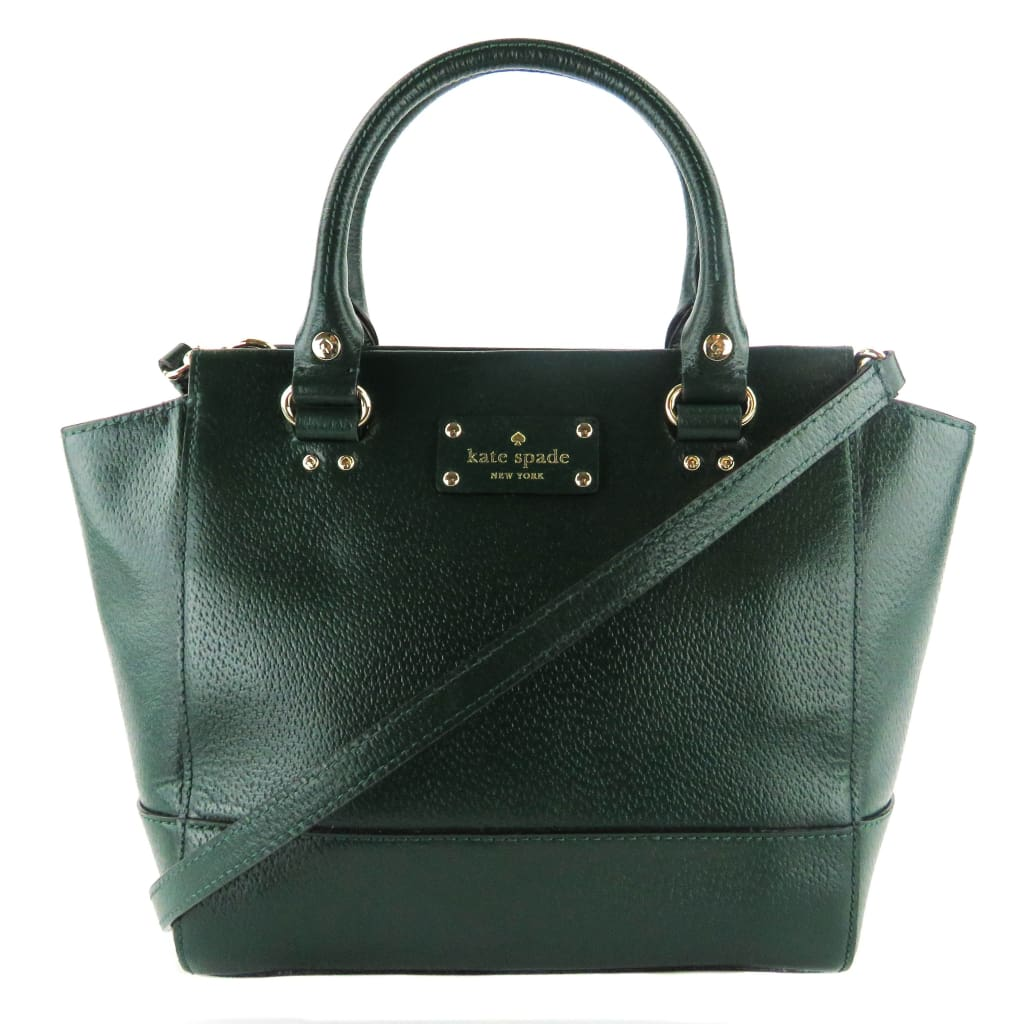 Kate Spade Green Leather Wellesley Camryn Convertible Satchel Bag - Satchels