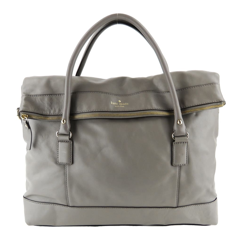 Kate Spade Grey Leather Fremont Place Travel Carmen Satchel Bag - Satchels