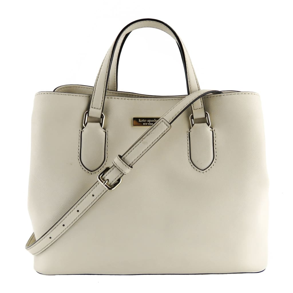 Kate Spade Light Beige Saffiano Leather Laurel Way Evangeline Satchel Bag - Satchels