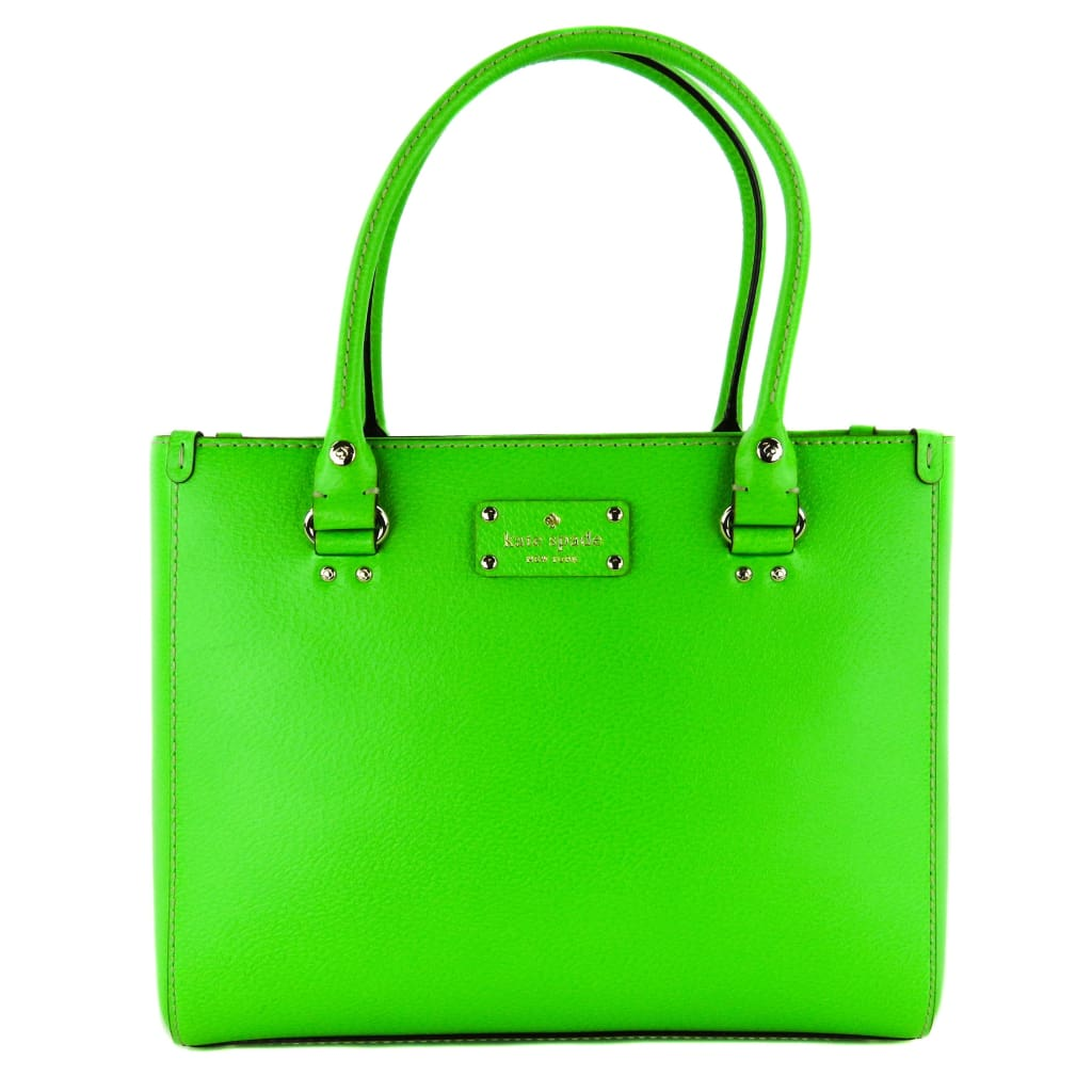 Kate Spade Lime Green Leather Wellesley Quinn Satchel Bag - Satchels
