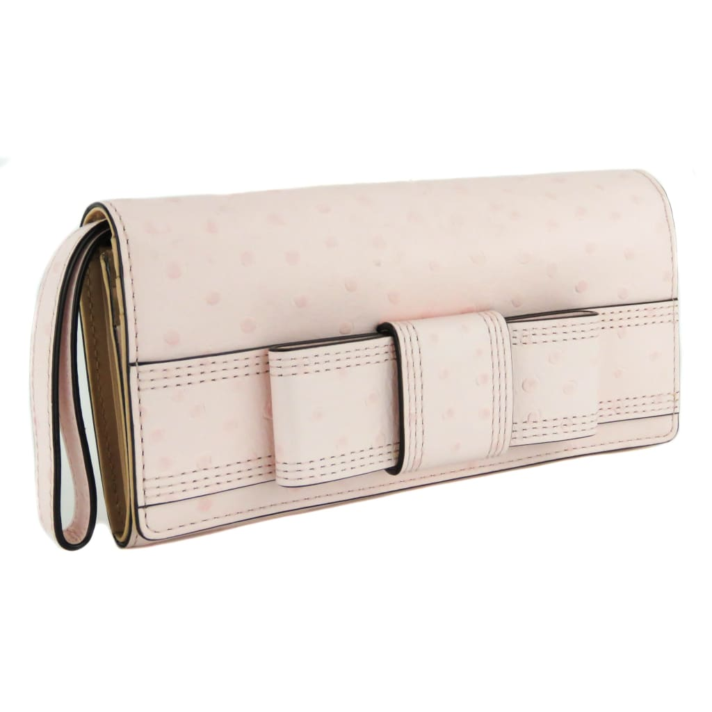Kate Spade Pink Ostrich Embossed Leather Mara Valencia Road Wristlet Wallet - Wallet