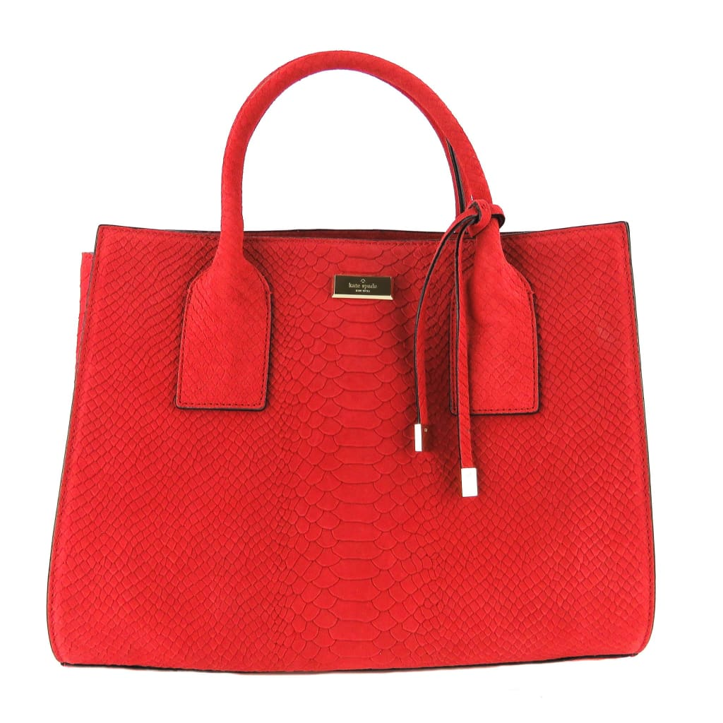 Kate Spade Red Embossed Suede Elsie Street Exotic Meriwether Tote Bag - Totes