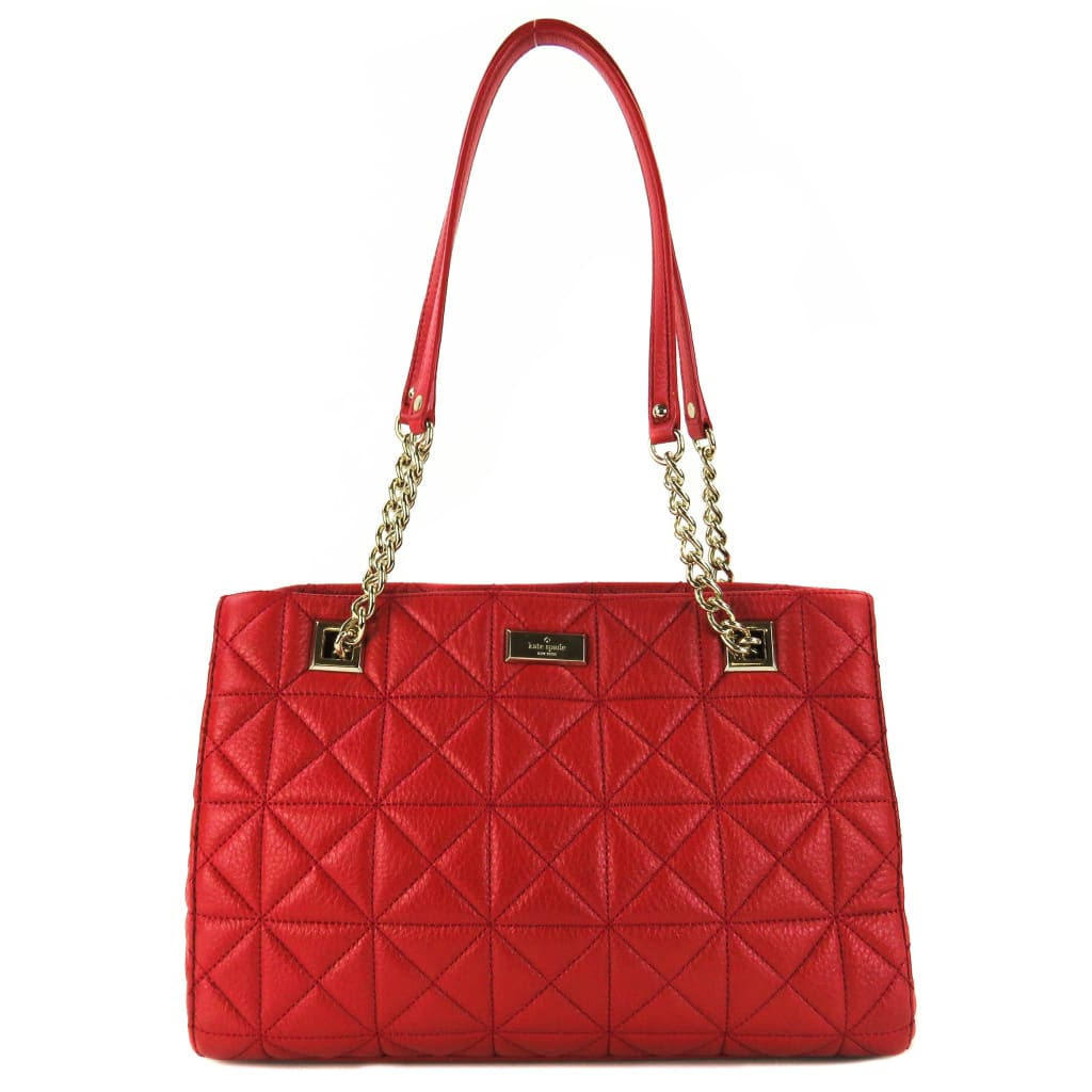 Kate Spade Red Quilted Leather Emerson Place Small Phoebe Tote Bag - Totes