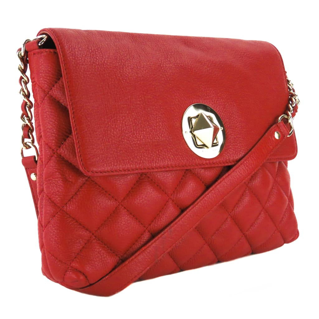 Kate Spade Red Quilted Leather Gold Coast Charlize Shoulder Bag - handbags
