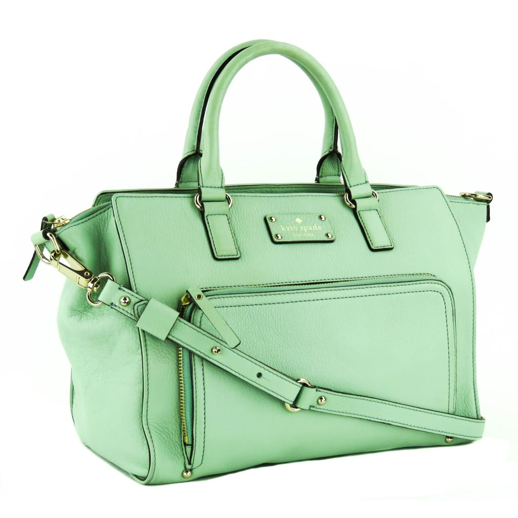 Kate Spade Seafoam Green Leather Baxter Street Sevilla Satchel Bag - Satchels
