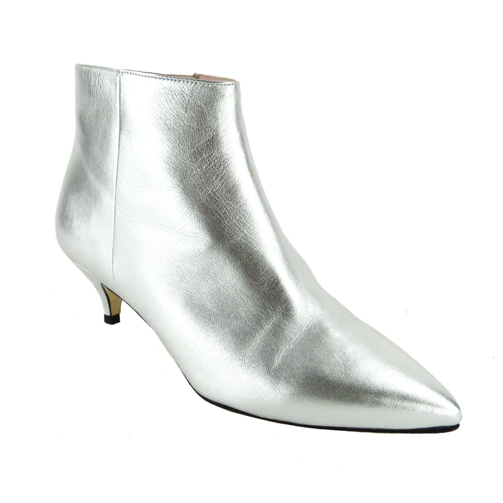 Kate Spade Silver Metallic Nappa Leather Olly Ankle Booties - Bootie