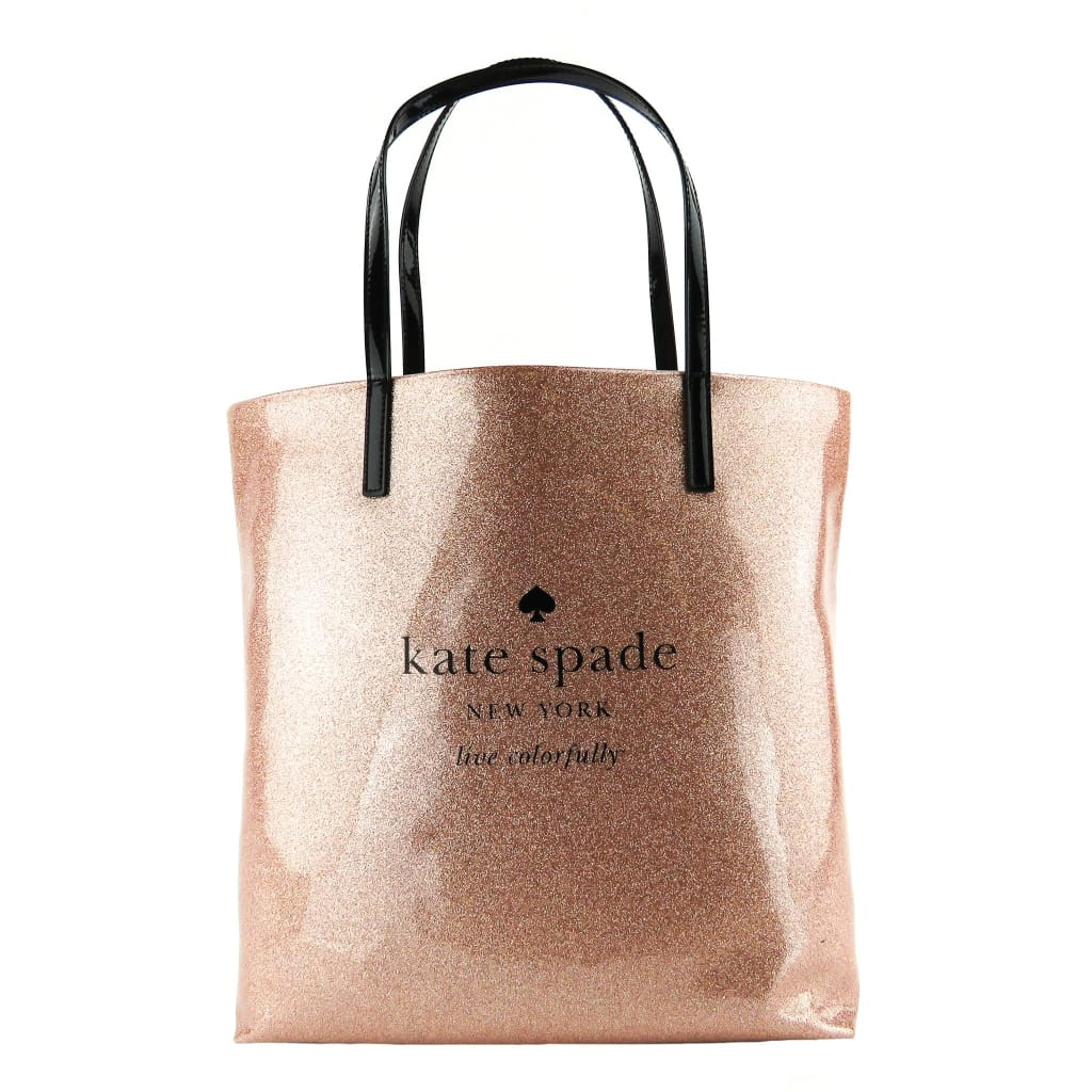 Kate Spade Sparkler Rose Gold Glitter PVC Holiday Drive Bon Shopper Tote Bag - Totes