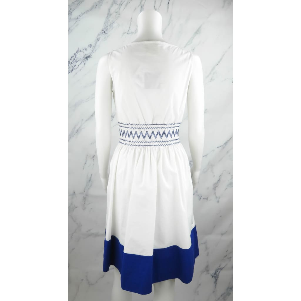 Kate Spade White and Blue Cotton X-Small Smocked Poplin Dress - Dress