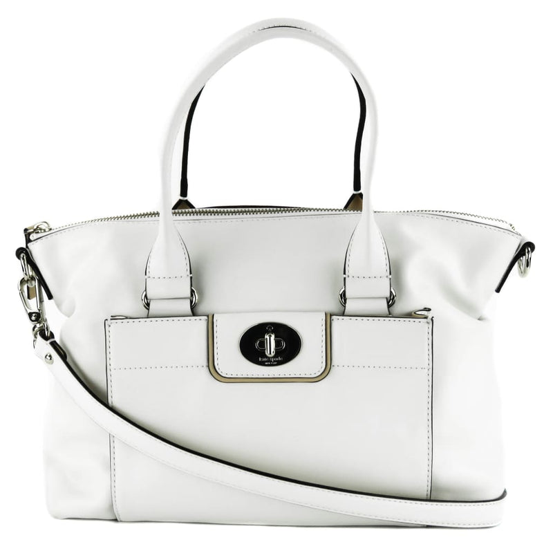 Kate Spade White Leather Hampton Road Janie Satchel Bag - Satchels