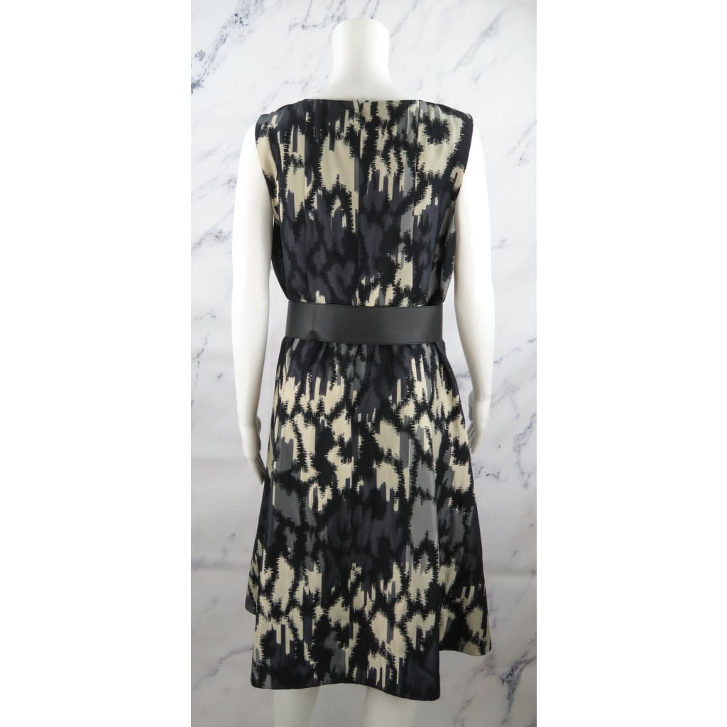 Lafayette 148 Black Multicolor Polyester Size 10 Belted Sleeveless Dress - Dresses
