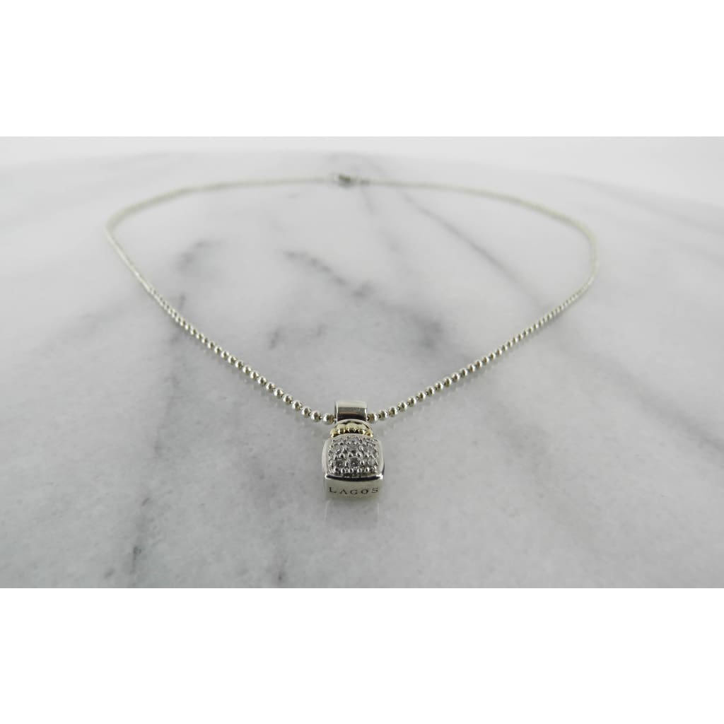 Lagos 18K Gold Sterling Silver Caviar Square Diamond Pendant Necklace - Necklace