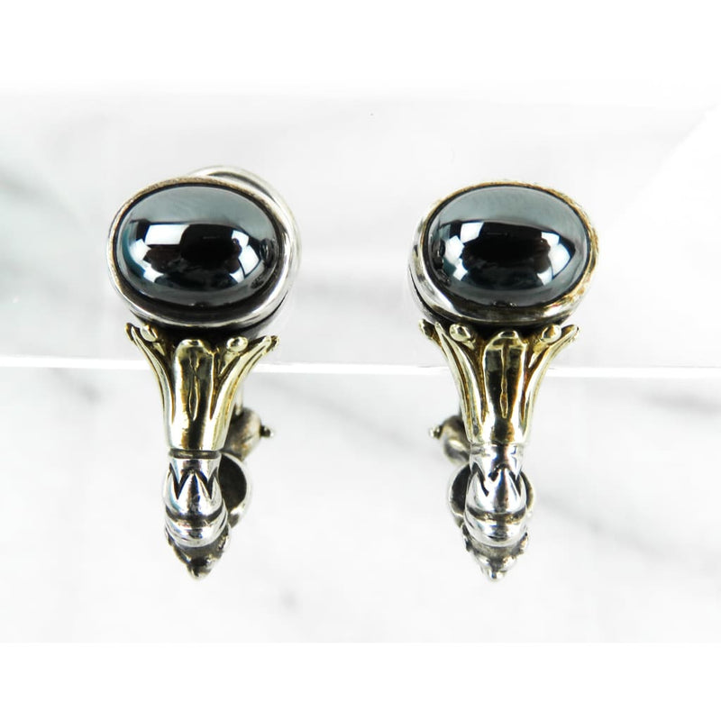 Lagos 18k Gold Sterling Silver Hematite Dangle French Clip Earrings - Earrings