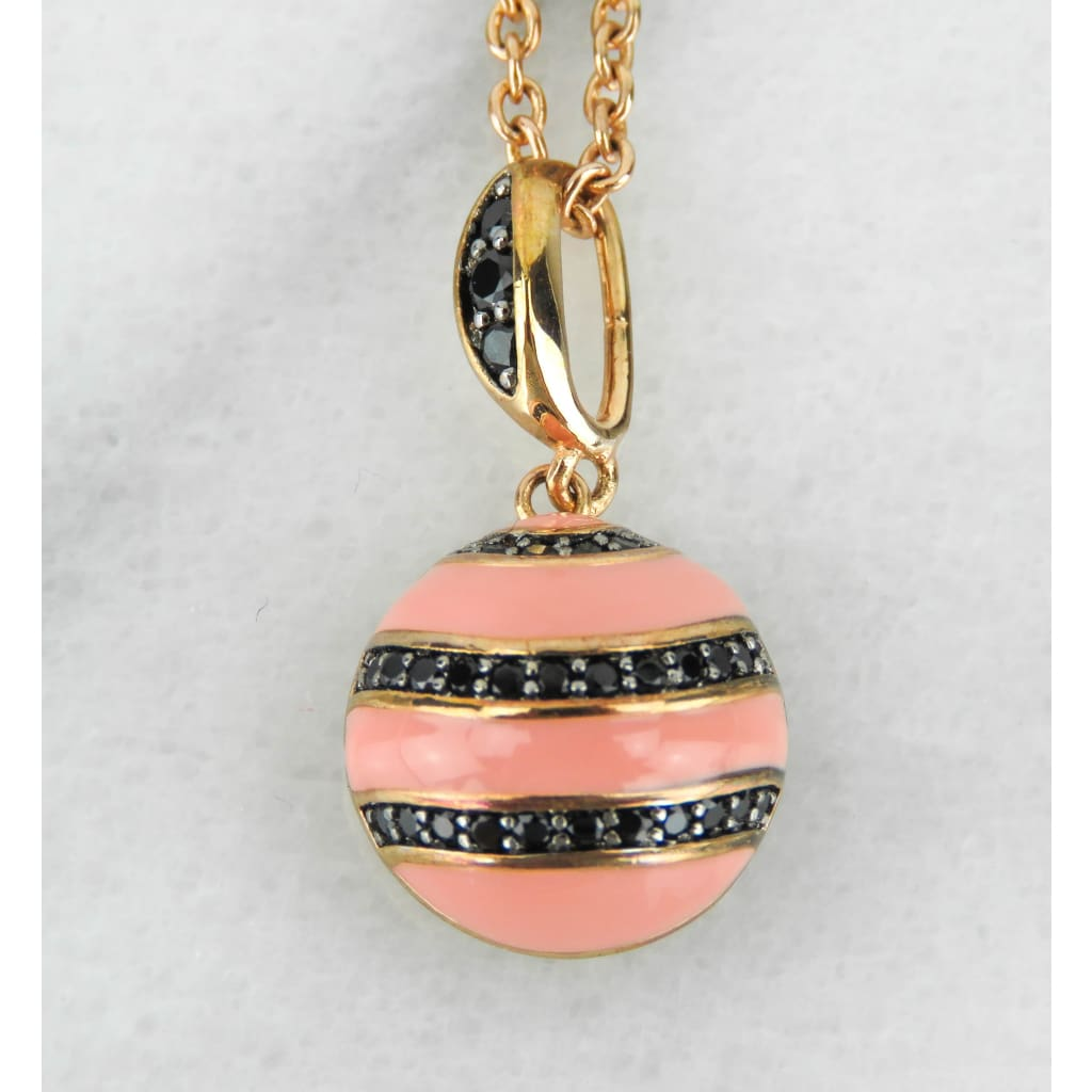 Lauren Adams Pink Enamel Cubic Zirconia Earth Wind and Fire Pendant Necklace - Necklace