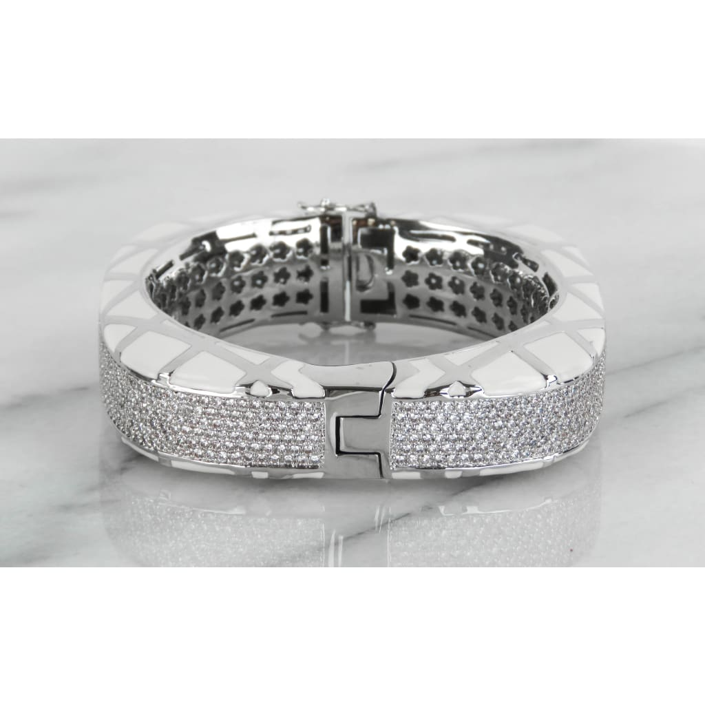 Lauren Adams White Enamel Cubic Zirconia Diamond Girl Bangle - Bracelet