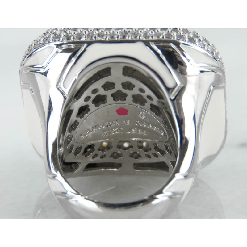 Lauren Adams White Enamel Cubic Zirconia Diamond Girl Cocktail Ring - Ring