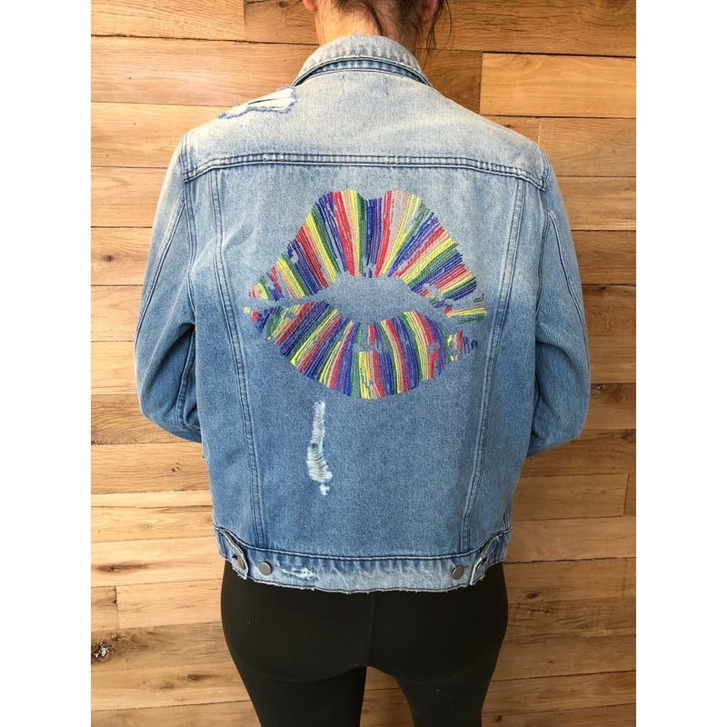 Lauren Moshi Blue Denim 90s Lips X-Small Jacket - Jacket