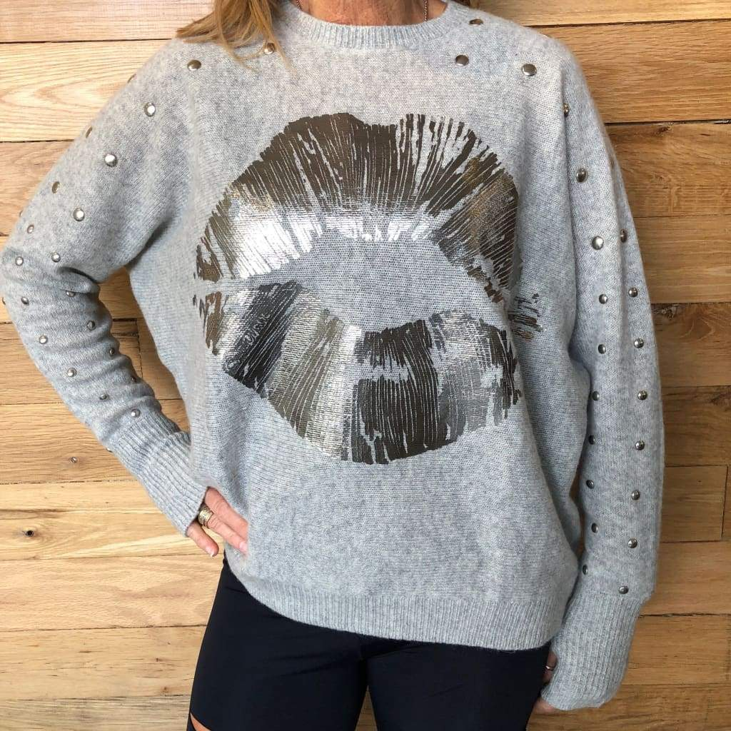 Lauren Moshi Gray Ladona Cashmere Lip & Studs Sweater NWT-Extra Small - Sweater