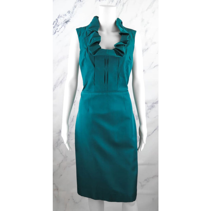 Lela Rose Teal Silk Ruffle Neck Size 10 Dress - Dress