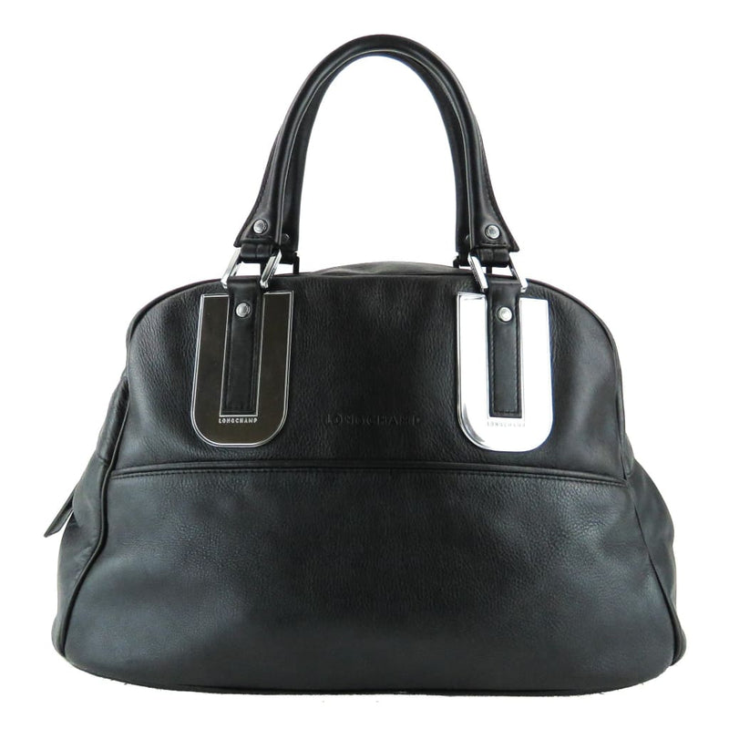 Longchamp Black Leather Duffel Satchel Bag - Satchels