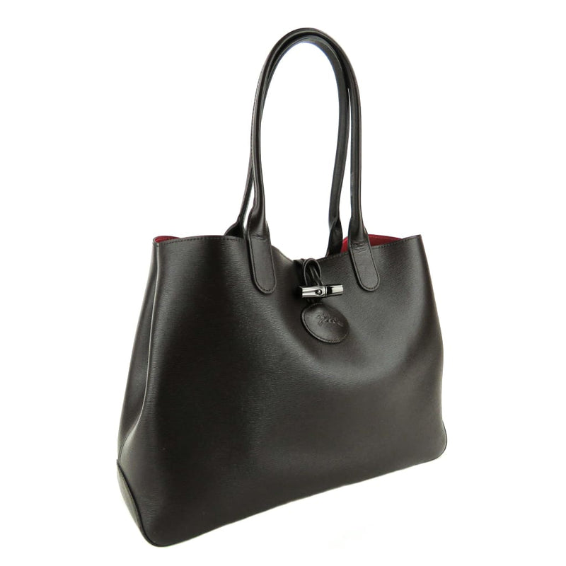 Longchamp Brown Leather Raspberry Roseau Reversible Tote Bag - Totes