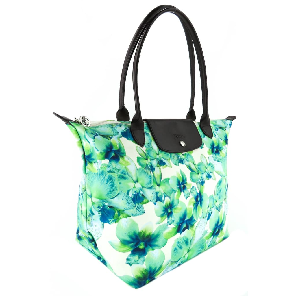 Longchamp Green and Blue Canvas Special Edition Orchid Print Tote Bag - Totes