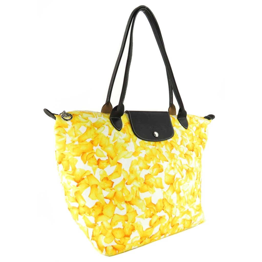 Longchamp Yellow Canvas Floral Le Pliage Darshan Tote Bag - Totes