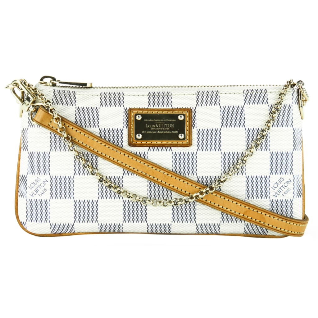 Louis Vuitton Azur Damier Canvas Milla MM Clutch Long Strap Bag - Clutches
