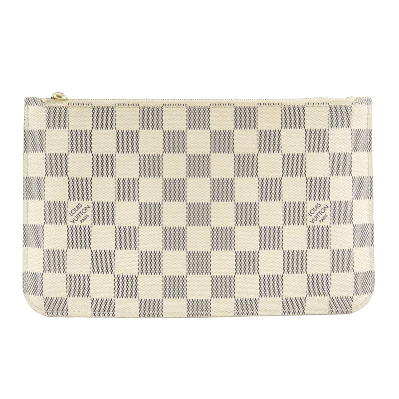 Louis Vuitton Azur Damier Canvas Neverfull Pochette Wristlet Bag