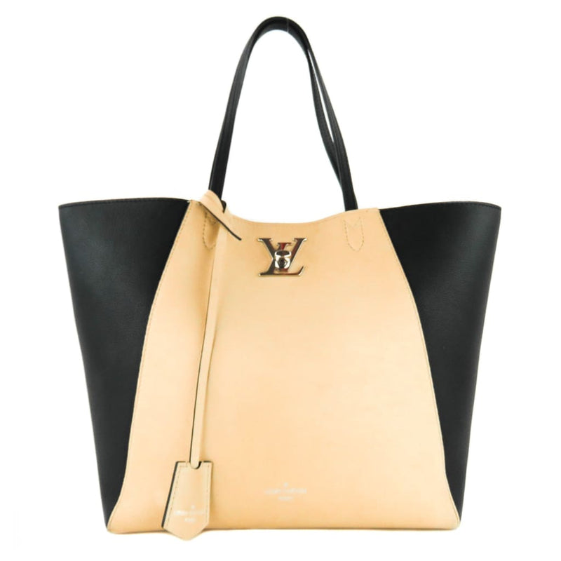 Louis Vuitton Beige and Black Leather Lock Me Cabas Tote Bag - Totes