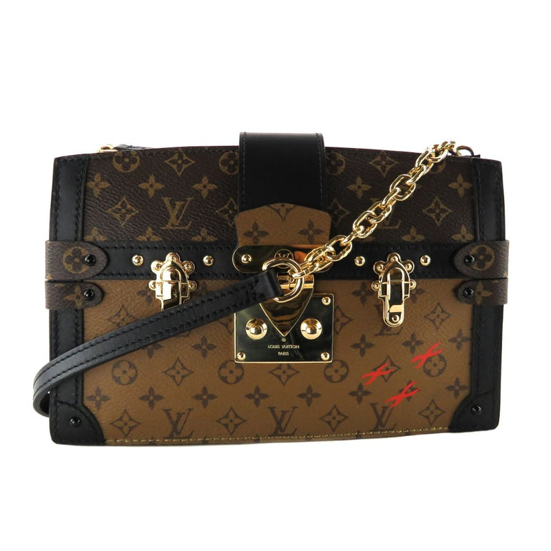 Louis Vuitton Black and Brown Monogram Canvas Reverse Trunk Clutch Crossbody Bag - Crossbodies