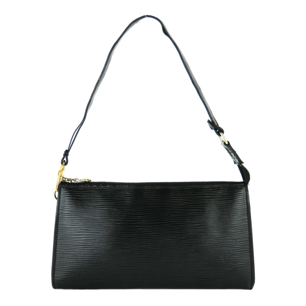 Louis Vuitton Black Epi Leather Pochette Wristlet Shoulder Bag - Shoulder Bags