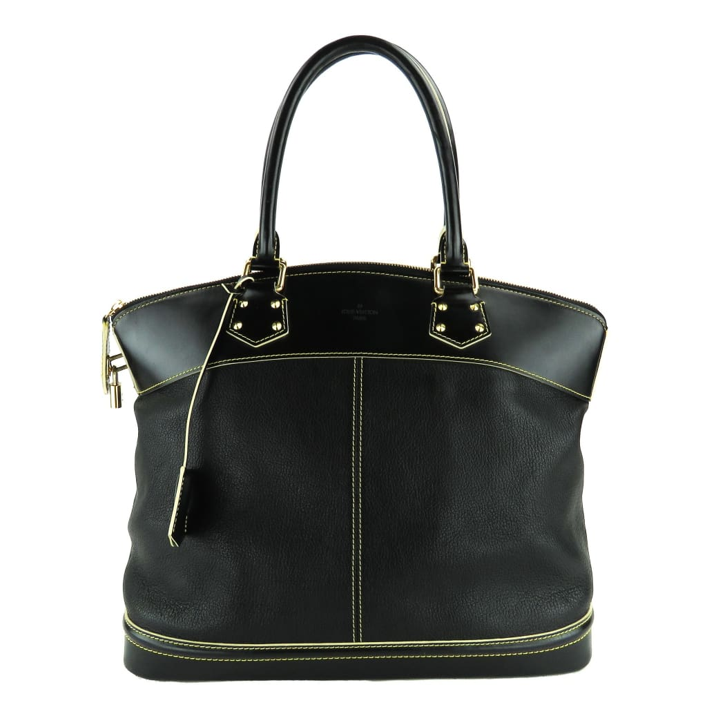 Louis Vuitton Black Leather Suhali Lockit GM Satchel Bag - Satchels