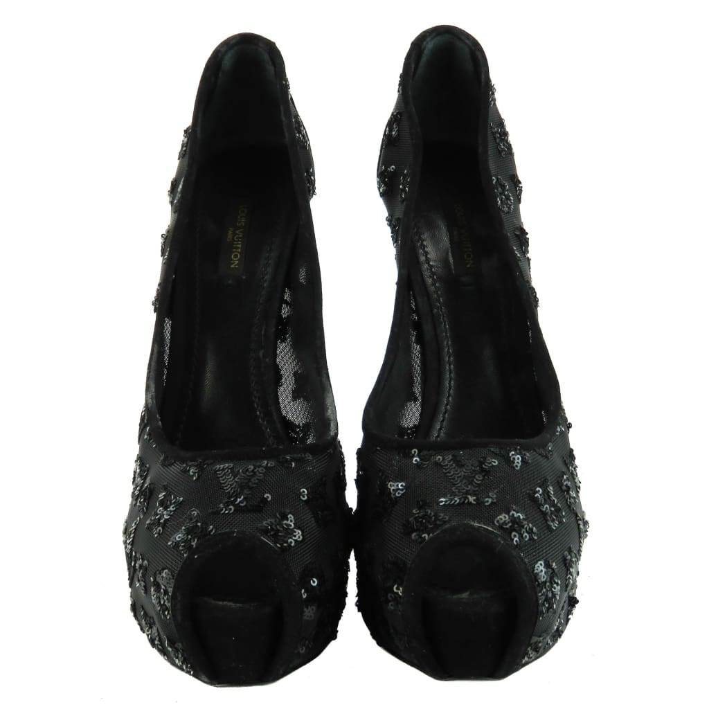 Louis Vuitton Black Mesh Night Call Monogram Sequin Peep Toe Pumps - Heels
