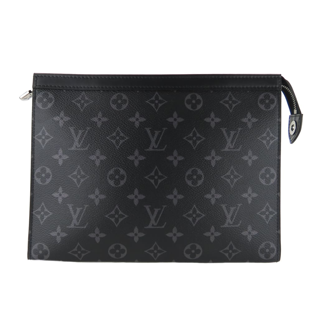 Louis Vuitton Black Monogram Canvas Eclipse Voyage MM Pochette Clutch Bag - Wristlet
