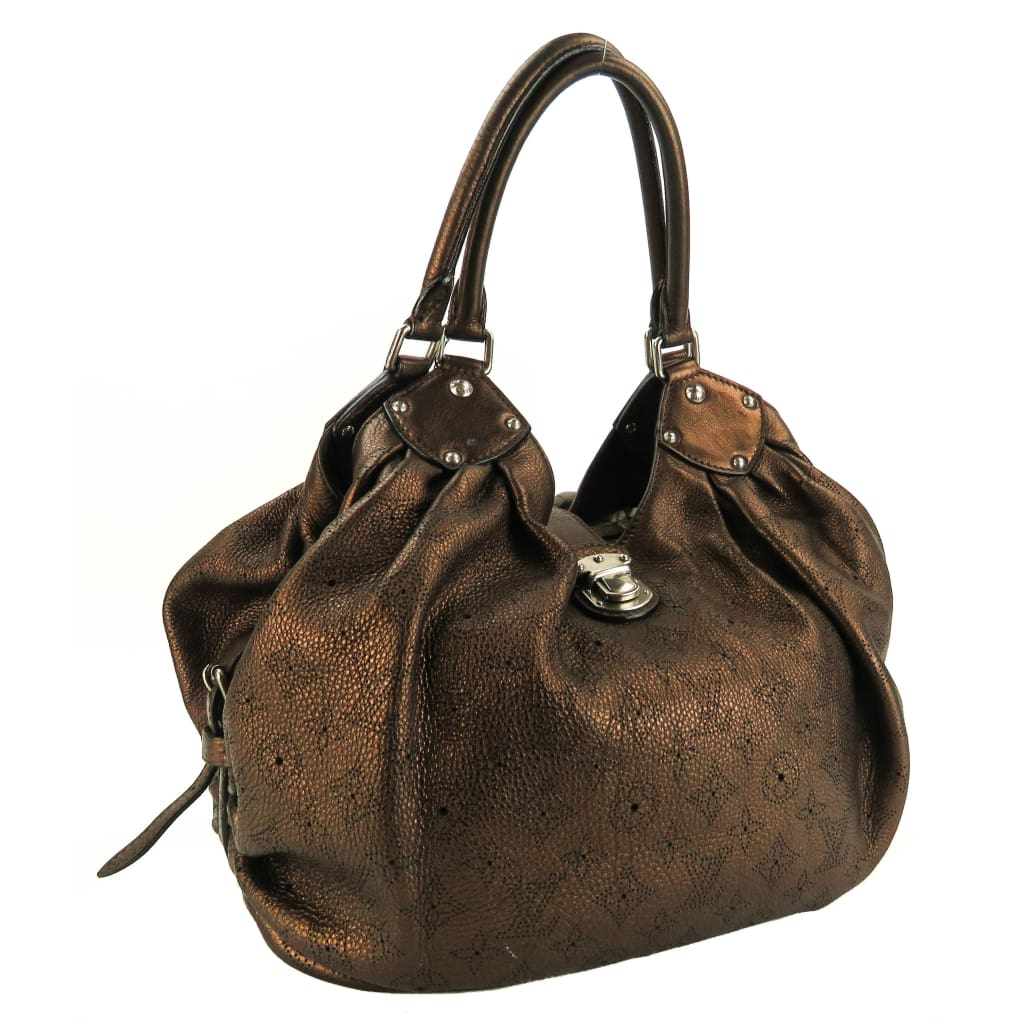 Louis Vuitton Bronze Metallic Perforated Mahina Leather Large Shoulder Bag - Shoulder Bags