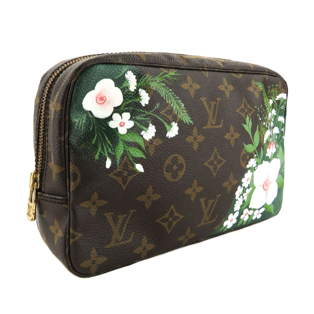 Louis Vuitton Brown Monogram Canvas Floral Trousse de Toilette 23 Cosmetic Pouch - Cosmetic Pouch