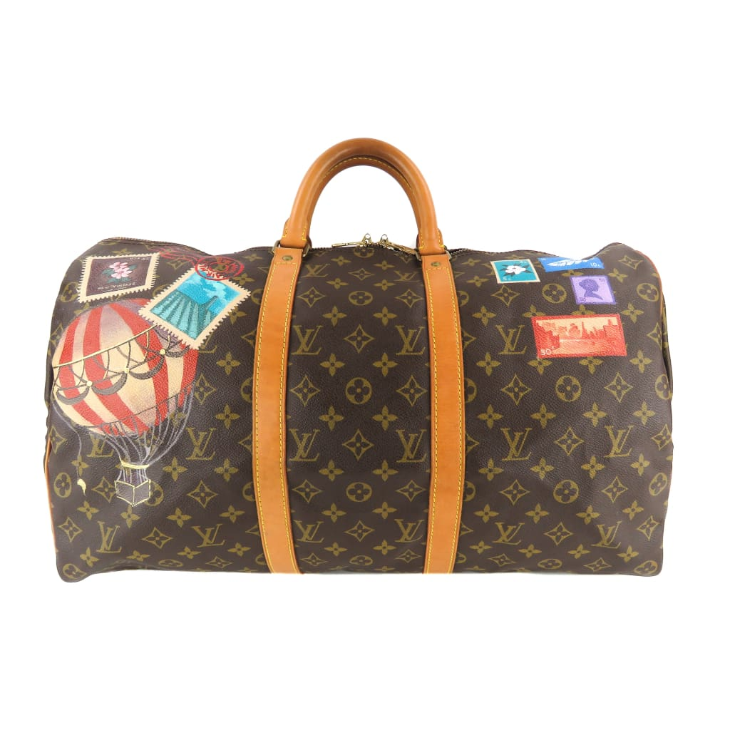 Louis Vuitton Brown Monogram Canvas Hot Air Balloon Stamp Keepall 50 Luggage Bag - Luggage