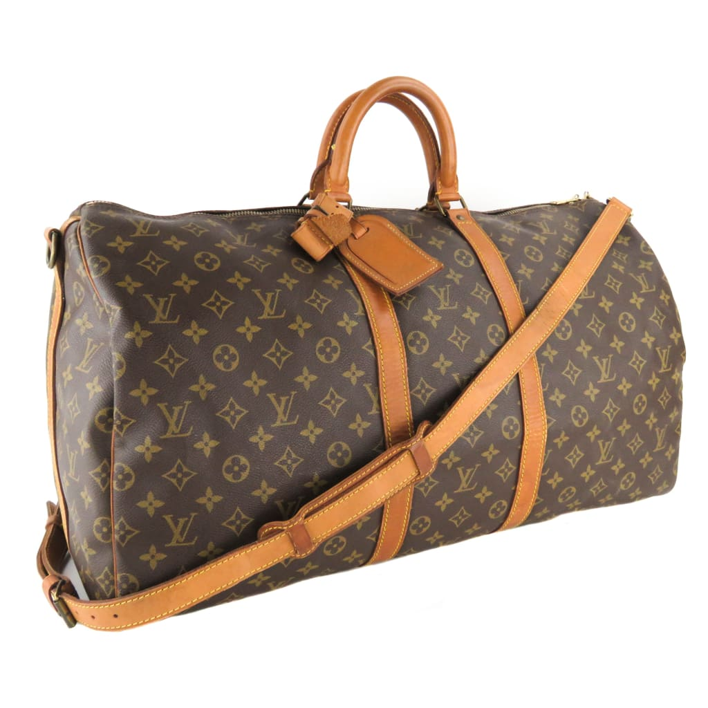 Louis Vuitton Brown Monogram Canvas Keepall 55 Bandouliere Luggage Bag - Luggage