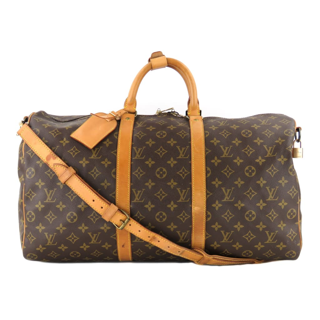 Louis Vuitton Brown Monogram Canvas Keepall Bandouliere 50 Luggage Bag - Luggage