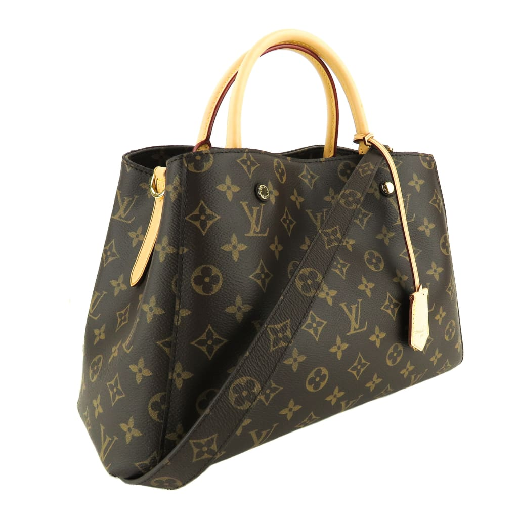 Louis Vuitton Brown Monogram Canvas Montaigne MM Satchel Bag - Satchels