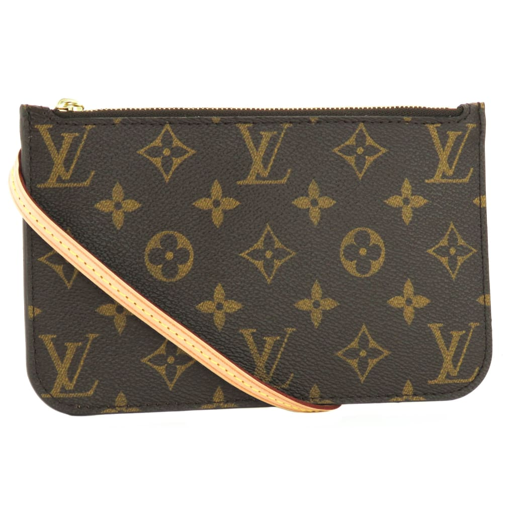 Louis Vuitton Brown Monogram Canvas Neverfull Pochette PM Wristlet Bag - Wristlet