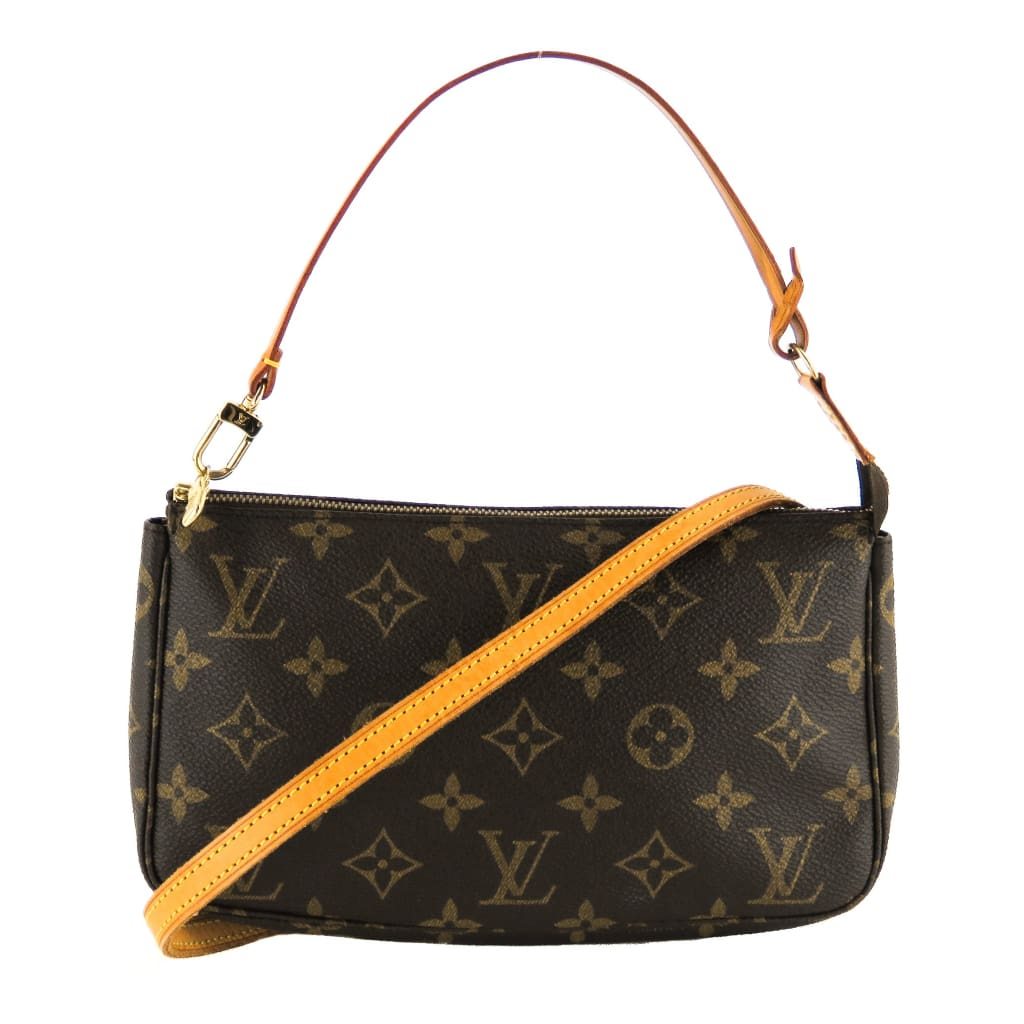 Louis Vuitton Brown Monogram Canvas Pochette Wristlet Crossbody Bag - Clutches