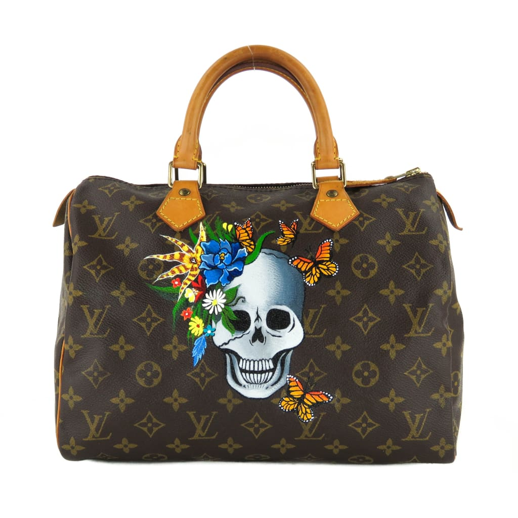 Louis Vuitton Brown Monogram Canvas Speedy 30 Floral Skull Satchel Bag - Satchels