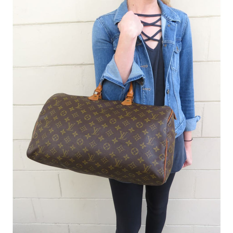 Louis Vuitton Brown Monogram Canvas Speedy 40 Satchel Bag - Satchels
