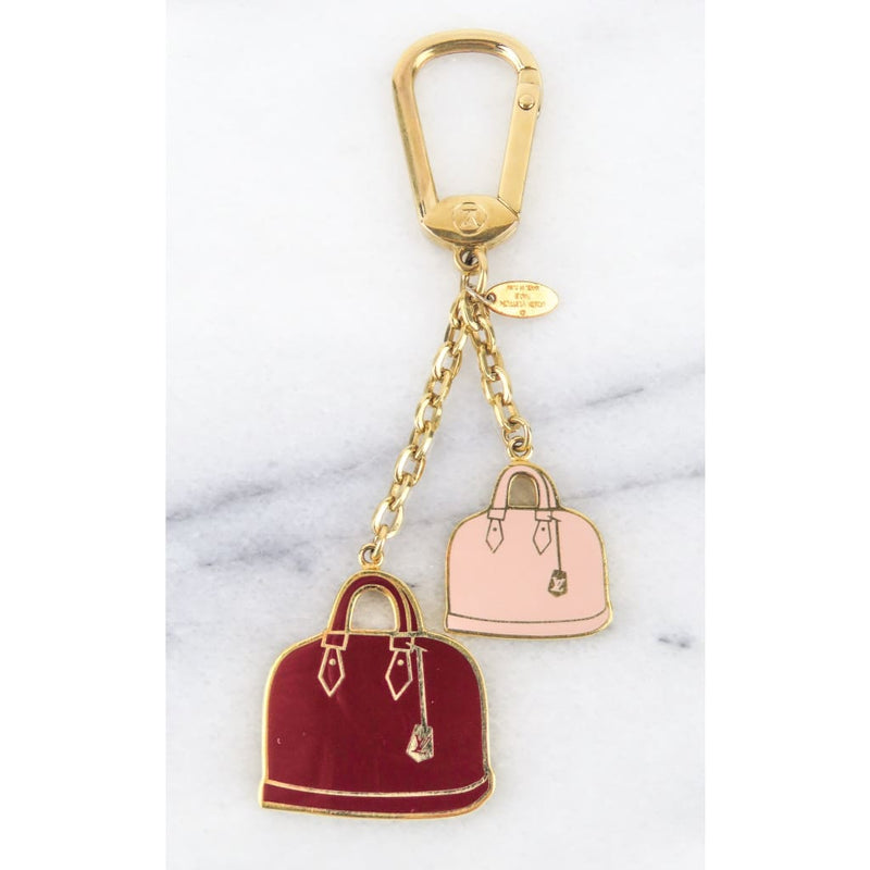 Louis Vuitton Gold-tone Red and Pink Alma Bags Charm Key Holder Keychain - Keychains