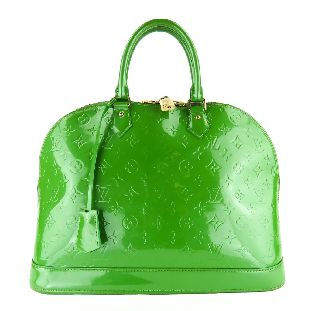 Louis Vuitton Green Monogram Vernis Leather Alma GM Satchel Bag - Satchels