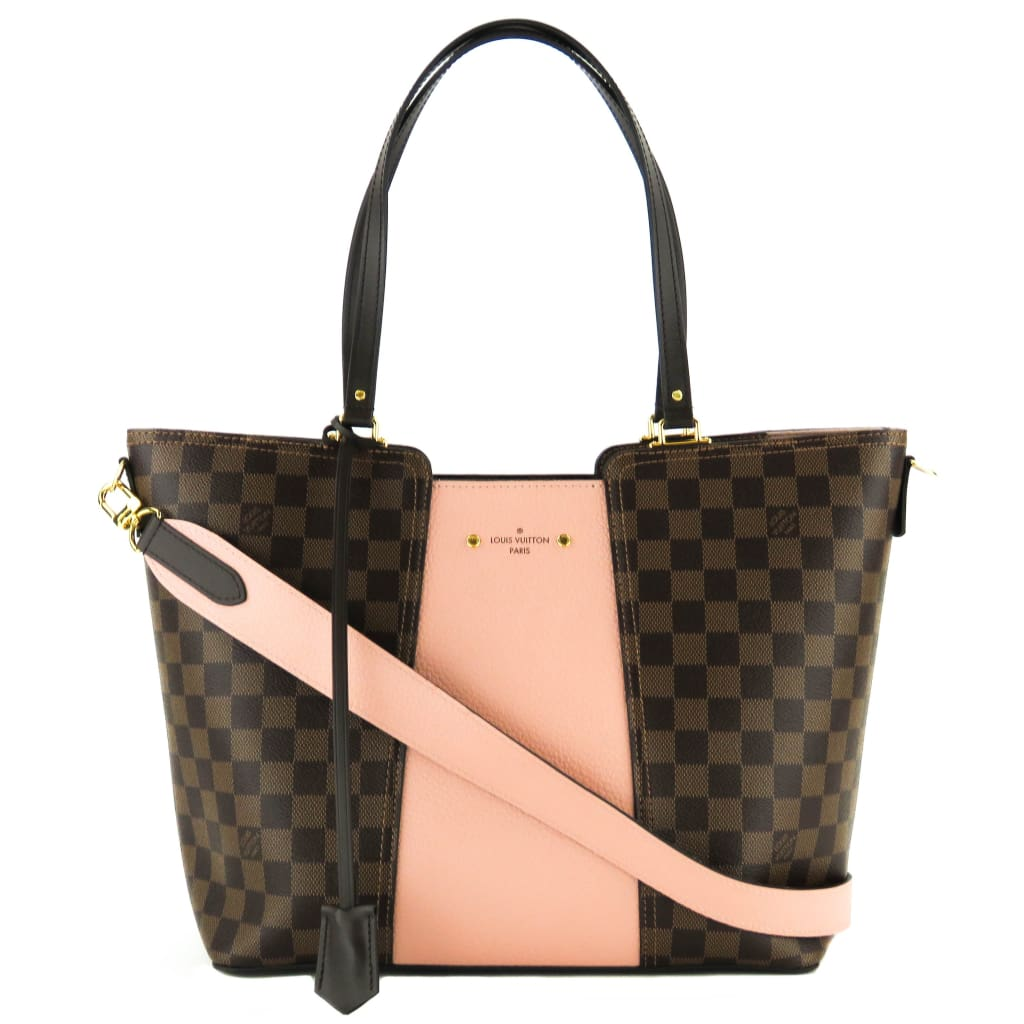 Louis Vuitton Pink Ebene Damier Canvas Magnolia Taurillon Jersey Tote Bag - Totes